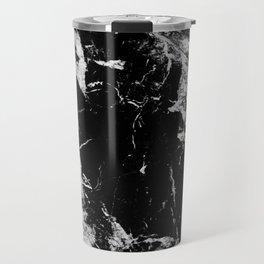 Dark marble black white stone1 Travel Mug