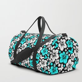 Hibiscus in Blue & White Duffle Bag