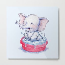 Bathing Baby Elephant Metal Print