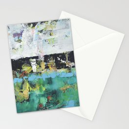Aloe Abstract Painting Green Stationery Cards