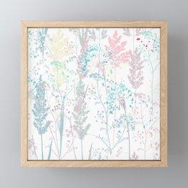 Summer mood, rustic vector pattern colorful pastel plants,  Framed Mini Art Print