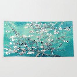 Vincent Van Gogh Almond Blossoms Turquoise Beach Towel