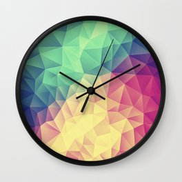 Abstract Polygon Multi Color Cubizm Painting (low poly) Wall Clock