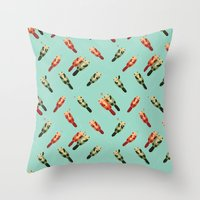 otters Throw Pillows featuring Otters' attractions by Lillian Ip-Koon