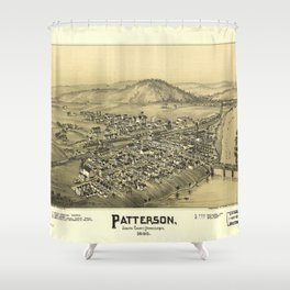 Aerial View of Patterson (Mifflin), Pennsylvania (1895) Shower Curtain