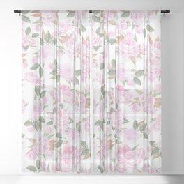 Romantic blush pink watercolor elegant roses floral Sheer Curtain