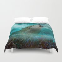 hobbes Duvet Covers featuring I'll See You In My Dreams (Cry of the Wolf) by soaring anchor designs