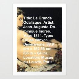 La Grande Odalisque, Ingres, 1814, Musée du Louvre, Paris Art Print