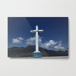Cross and Mount Cotacachi Metal Print