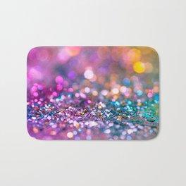 Pink and Teal Glitter Art Bath Mat