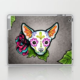 Chihuahua in White - Day of the Dead Sugar Skull Dog Laptop & iPad Skin