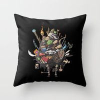 skyrim Throw Pillows featuring Let me guess, someone stole your sweetroll by Fightstacy
