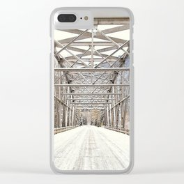 Snow Covered Bridge Clear iPhone Case
