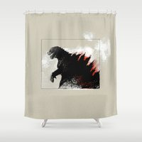 godzilla Shower Curtains featuring Godzilla by Sabine Israel