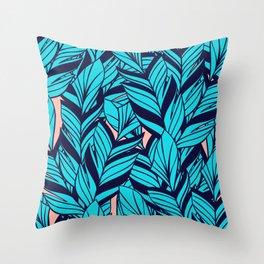 Blue Banana Leaf Pattern Throw Pillow