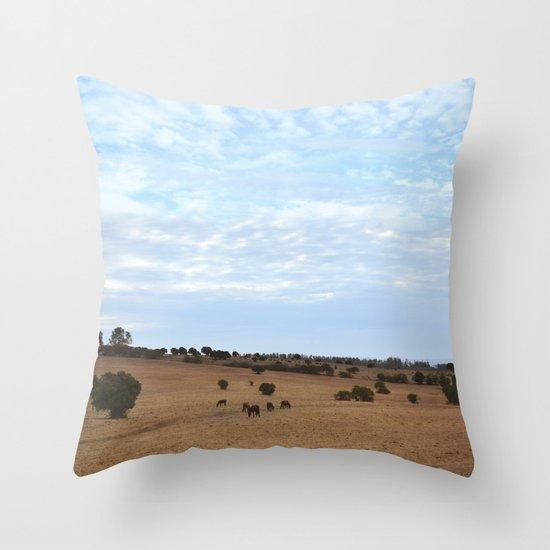 Landscape & Horses Throw Pillow