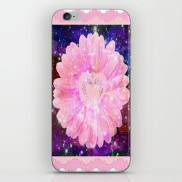 Pink flower with sparkles  iPhone Skin
