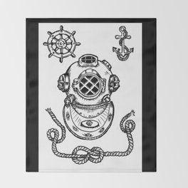 Deep Sea Diver Helmet Illustration Throw Blanket