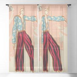 NEW YEAR DANCE Sheer Curtain