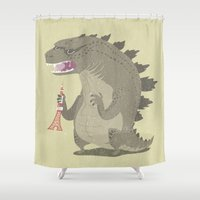 godzilla Shower Curtains featuring Godzilla by Rod Perich