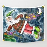 santa Wall Tapestries featuring Santa by Shelley Ylst Art