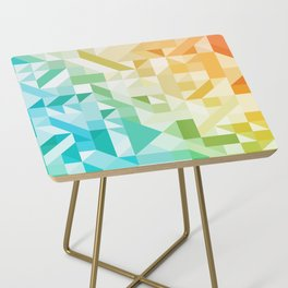 Colorful Geometric Pattern Saturated Rainbow Pattern Design (Red Pink Orange Yellow Green Blue) Side Table
