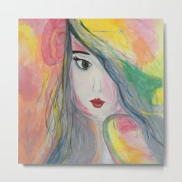 Pretty Girl. Yellow Pink and Green Girl Painting by Jodi Tomer. Figurative Abstract Pop Art. Metal Print