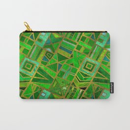 Geometric  Green and Gold African Tribal Pattern Carry-All Pouch