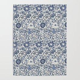 William Morris Navy Blue Botanical Pattern 6 Poster