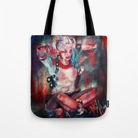 harley quinn Tote Bags featuring Harley Quinn by M Alcaraz
