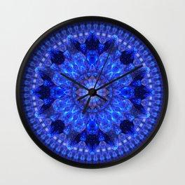 Azure Shield Mandala Wall Clock