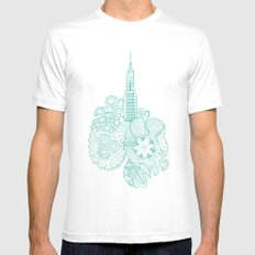 NYC White Mens Fitted Tee MEDIUM