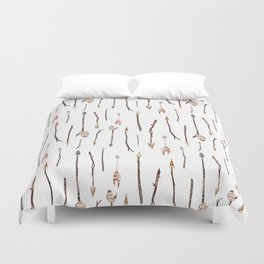 Boho Arrows with Feathers Pattern Duvet Cover