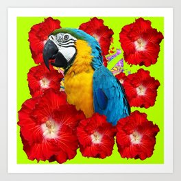 Chartreuse Red Hibiscus Flowers & Blue Macaw Parrot Art Print