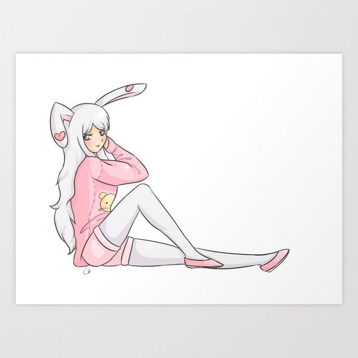 555144953413 Cute Bunny Girl Art Print by gimmehug