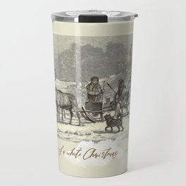 Nothern winter scene with Dogs and Reindeers team Travel Mug