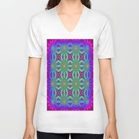 psychedelic V-neck T-shirts featuring PSYCHEDELIC flowers by 2sweet4words Designs