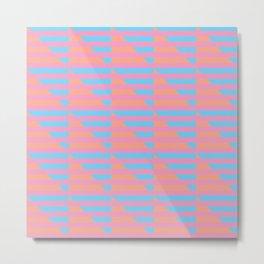 Pink Blue Peach Houndstooth /// www.pencilmeinstationery.com Metal Print