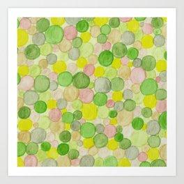 Green Abstract Spots and Circles Watercolour Pencil Pattern Art Print