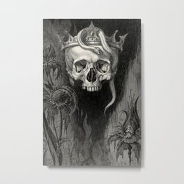 Skull Crowned with Snakes and Flowers by Henry Weston Keen Metal Print