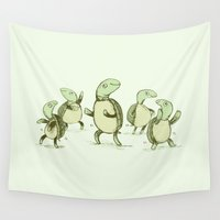 turtles Wall Tapestries featuring Dancing Turtles by Sophie Corrigan