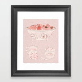 Strawberries and Cream Watercolor Framed Art Print