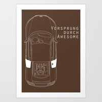 audi Art Prints featuring Vorsprung Durch Awesome by Salmanorguk