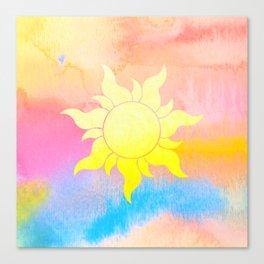 Repunzel Watercolor Sun Canvas Print