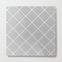 Stitched Diamond Geo Grid in Black and White Metal Print