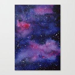 Watercolor Galaxy Nebula Pink Purple Sky Stars Canvas Print
