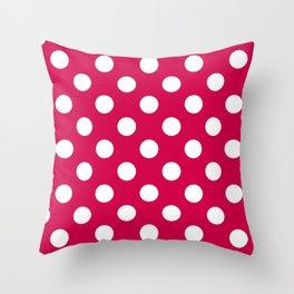 Spanish carmine - fuchsia - White Polka Dots - Pois Pattern Throw Pillow