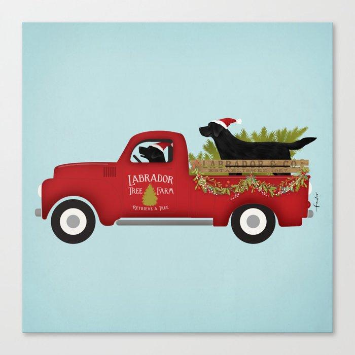 Black Lab Dog Labrador Christmas Tree Farm Vintage Red