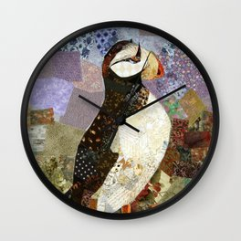 Fabric Puffin Wall Clock