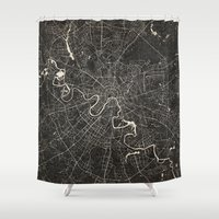 moscow Shower Curtains featuring moscow map ink lines by Les petites illustrations